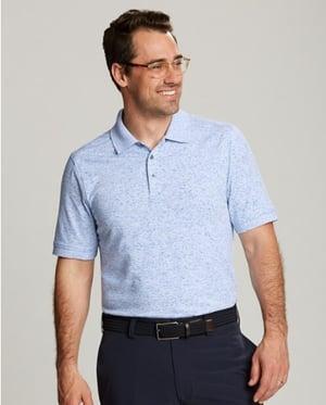 Man wearing Cutter and Buck Men's Advantage Polo Space Dye