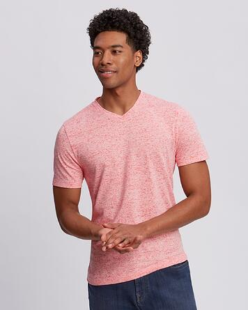 Man wearing Cutter and Buck Advantage Space-Dye Tee in Color Alarm