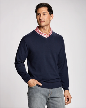 Cutter and Buck Big and Tall Lakemont V-Neck in Liberty Navy