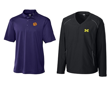 CLEMSON TIGERS CB DRYTEC GENRE POLO and MICHIGAN WOLVERINES TRAVERSE HALF ZIP