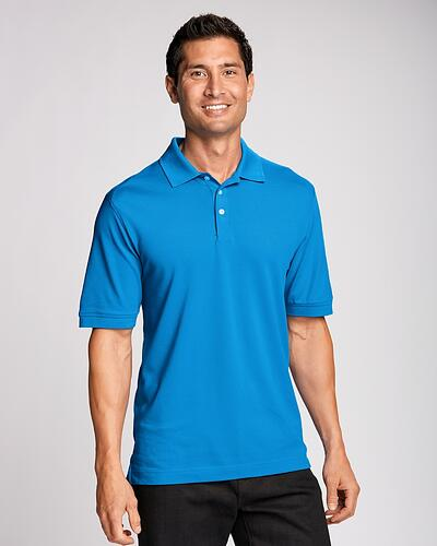 Man Wearing Cutter & Buck Advantage Polo Big and Tall in Blue