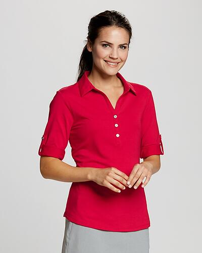Woman wearing red Cutter & Buck Elbow Sleeve Thrive Polo