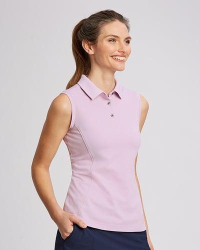Woman smiling wearing pale pink Cutter & Buck Ladies Advantage Polo Sleeveless