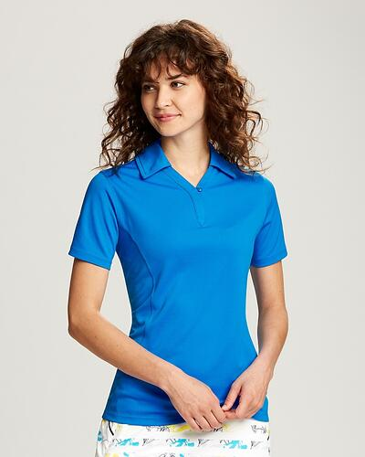 Woman with dark curly hair wearing bright blue Cutter & Buck Ladies Genre Polo