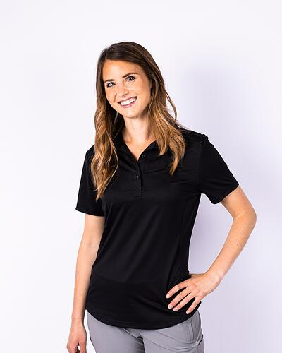 Woman looking casual and wearing a Cutter & Buck Ladies Prospect Polo