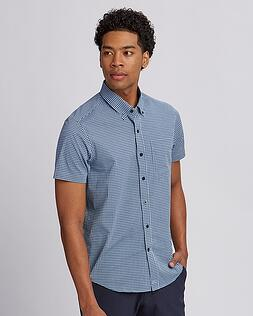 Cutter Buck Anchor Short-Sleeve Gingham Shirt in Blue