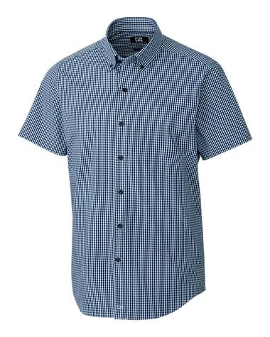 Cutter Buck Big & Tall Anchor Short Sleeve Gingham Shirt in Blue
