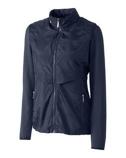 Cutter Buck Ladies Ava Hybrid Full Zip Jacket in Navy
