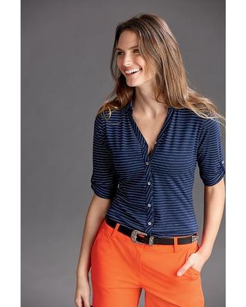 Woman wearing Ladies Elbow-Sleeve Academy Stripe in Tour Blue