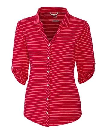 Cutter & Buck Ladies Elbow-Sleeve Academy Stripe in Red