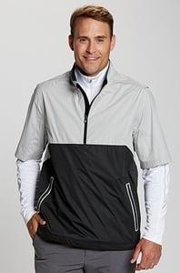Man wearing Cutter and Buck Fairway Short Sleeve Half-Zip