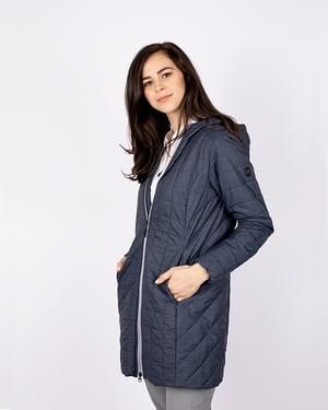 Woman wearing Cutter & Buck Ladies' Rainier Long Jacket