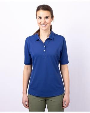 Woman wearing Women's Virtue Eco Pique Polo in blue