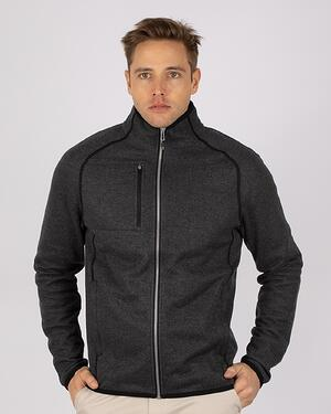 Man wearing Cutter & Buck Men's Mainsail Jacket in Charcoal Heather