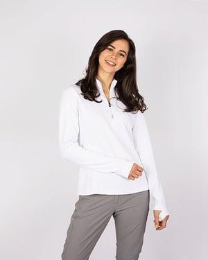 woman wearing Cutter and Buck Ladies Long Sleeve Traverse Half-Zip in White