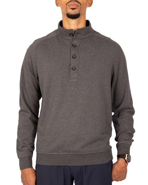 Man wearing Cutter & Buck Men's Saturday Mock Sweater