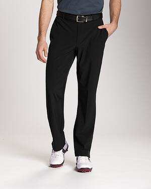 Cutter and Buck Big and Tall Unhemmed Bainbridge Flat Front Pant in Black