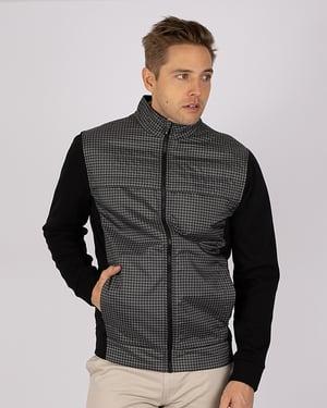 Man wearing Cutter & Buck Men's Discovery Hybrid Jacket