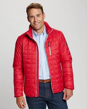Man wearing Cutter and Buck Men's Rainier Jacket