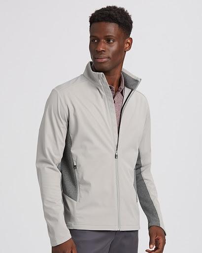 Man wearing Cutter & Buck Men's Navigate Softshell Jacket