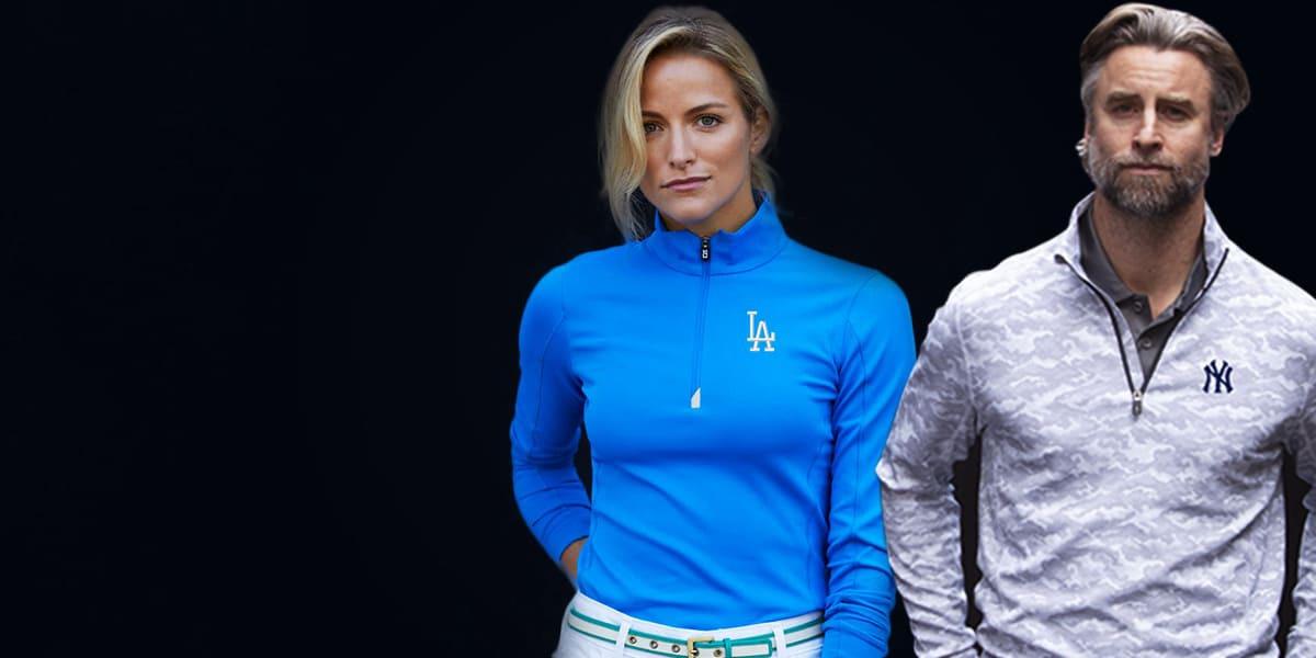 Man wearing Cutter and Buck LA Dodgers Jacket