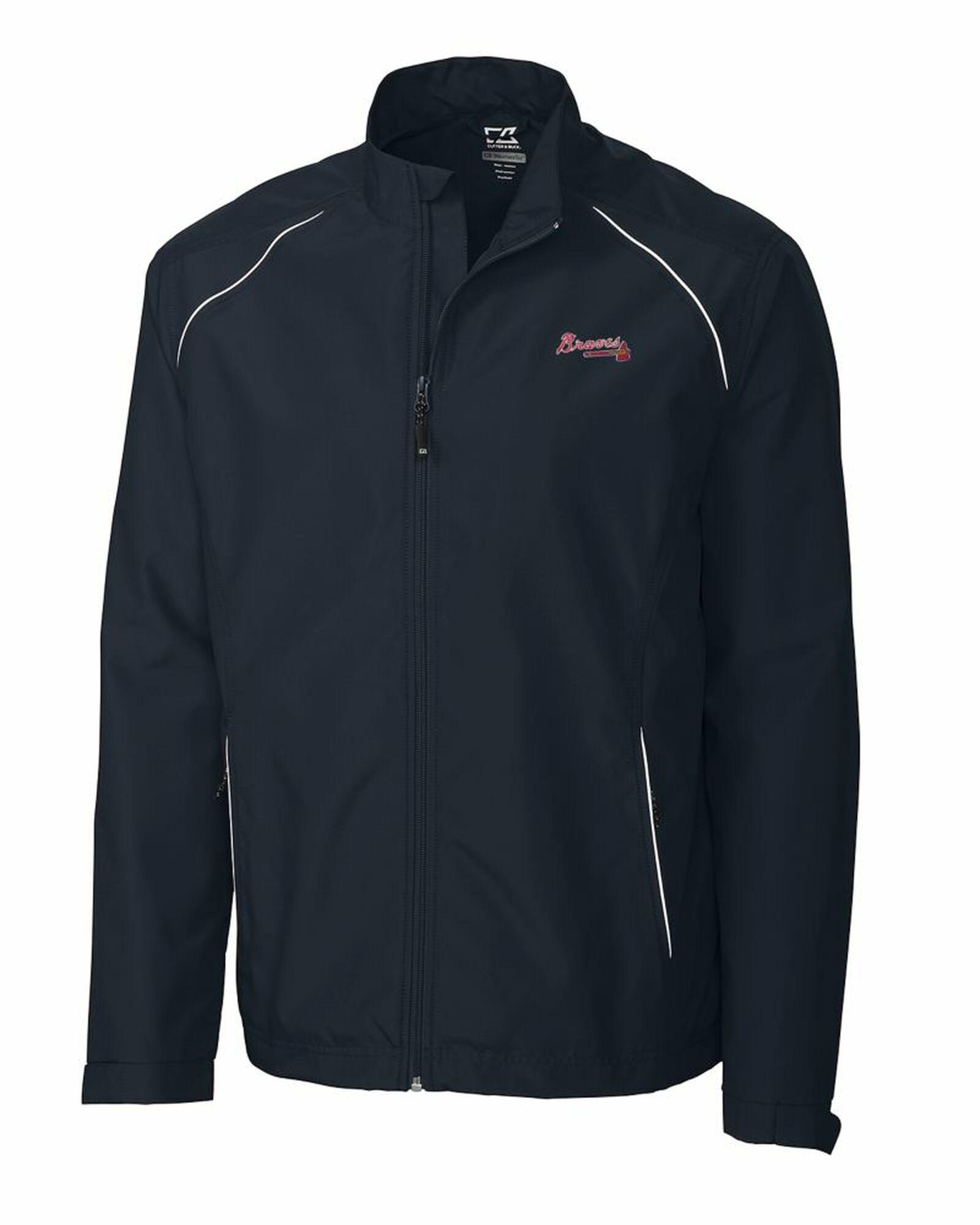 Cutter and Buck Mens Atlanta Braves WeatherTec Beacon Full-Zip Jacket