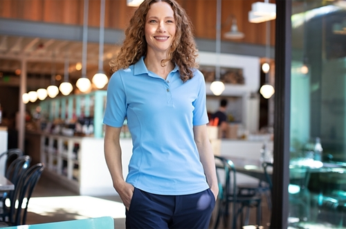 Woman wearing Cutter & Buck Virtue Eco Pique Recycled Womens Polo