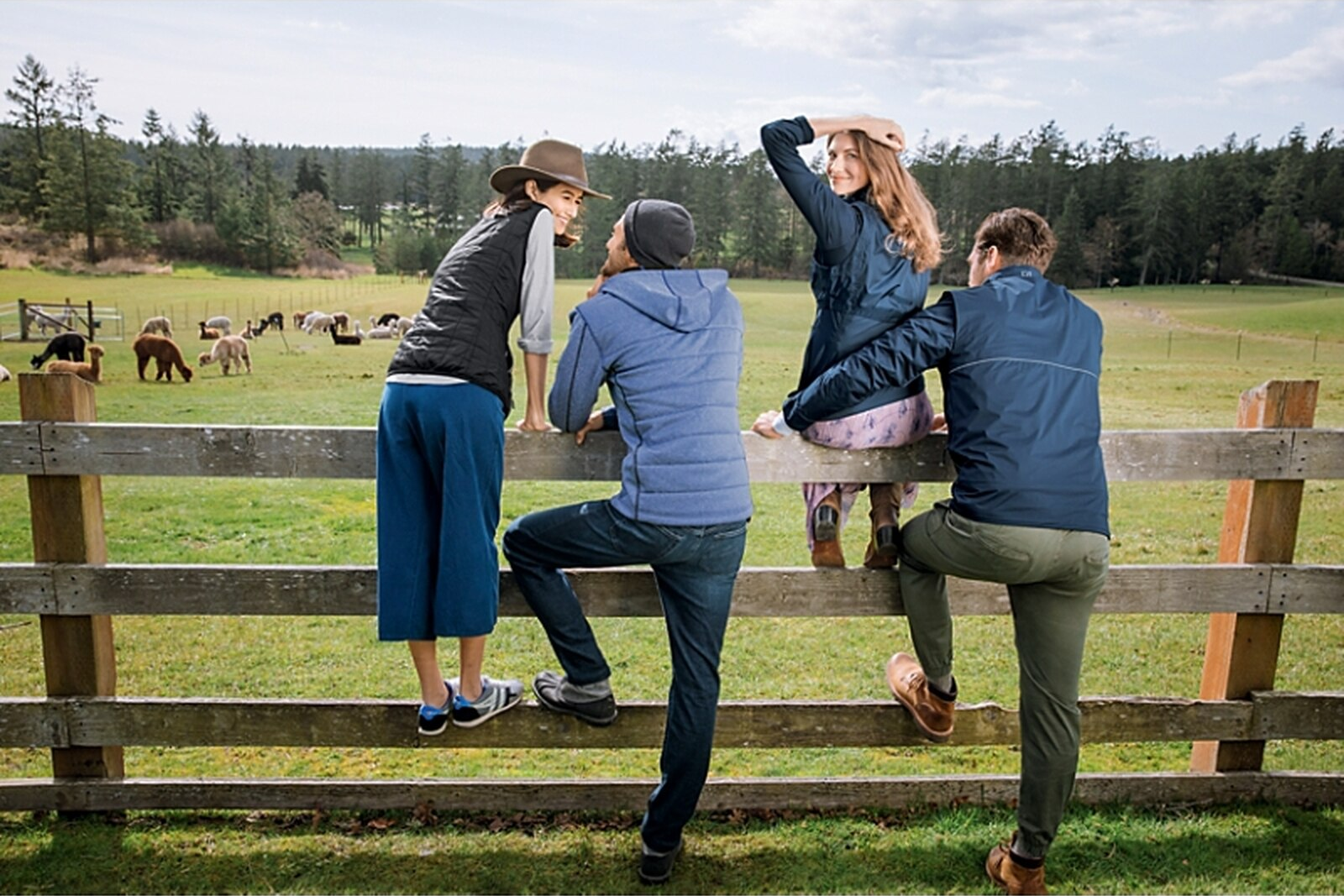 Group wearing Cutter and Buck Rainier Collection on a farm