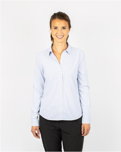 Woman wearing Cutter and Buck VersaTech Tattersall Shirt