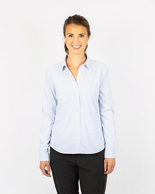 Woman wearing Cutter and Buck Ladies Versatech Tattersall Shirt