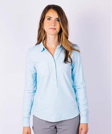 Woman wearing Cutter and Buck Ladies Reach Oxford Popover Shirt