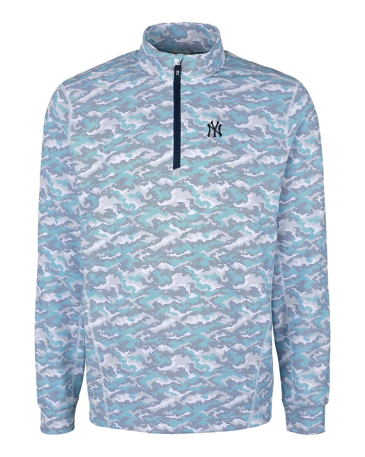 Cutter and Buck Men's New York Yankees Traverse Camo Print Half-Zip Jacket