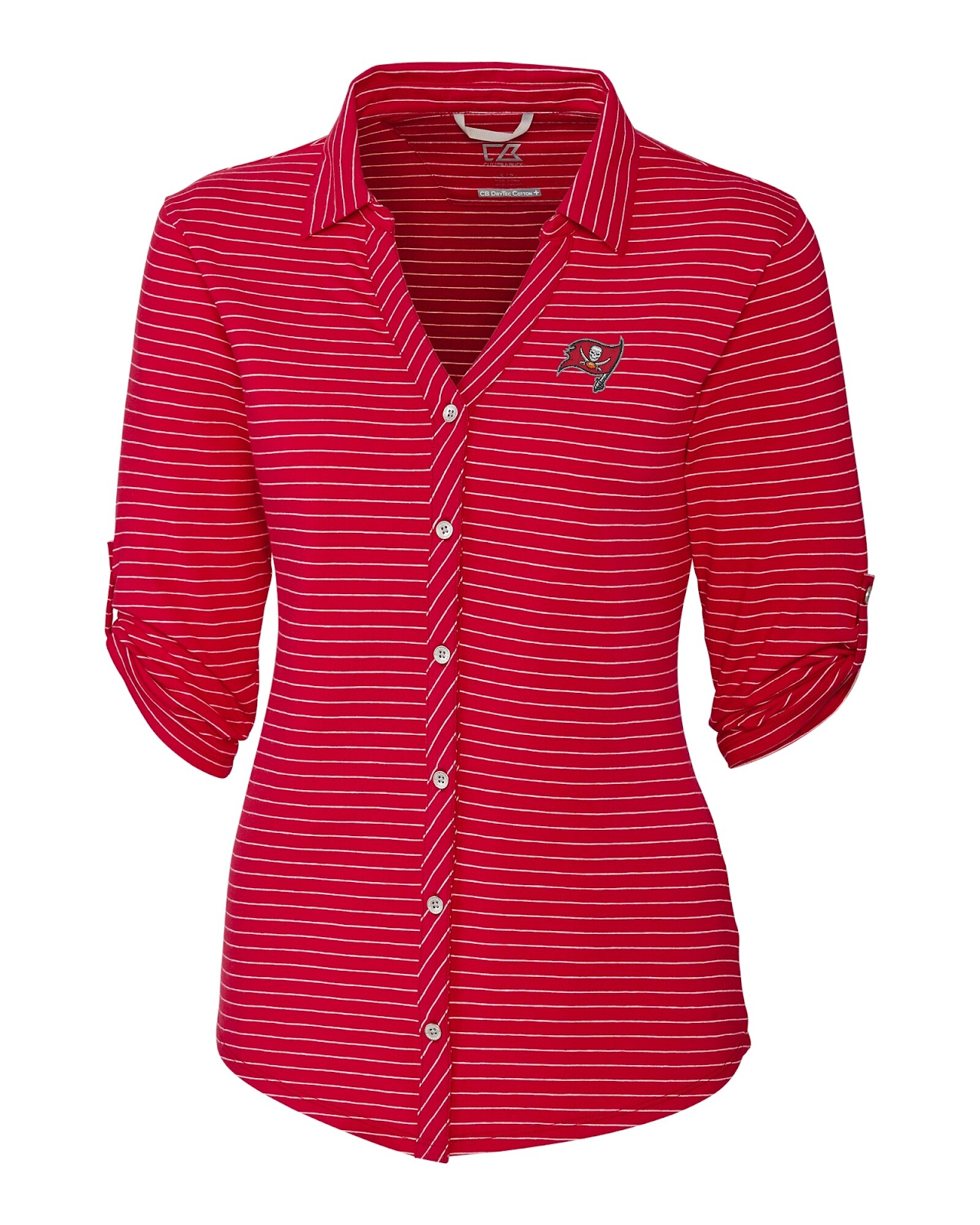 Cutter and Buck Ladies Tampa Bay Buccaneers Academy Stripe Polo