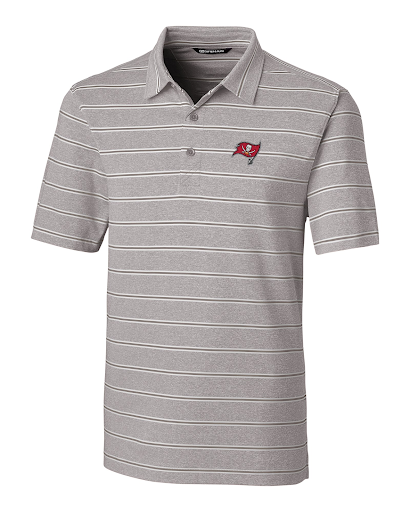 Cutter and Buck Mens Tampa Bay Buccaneers Forge Stripe Polo